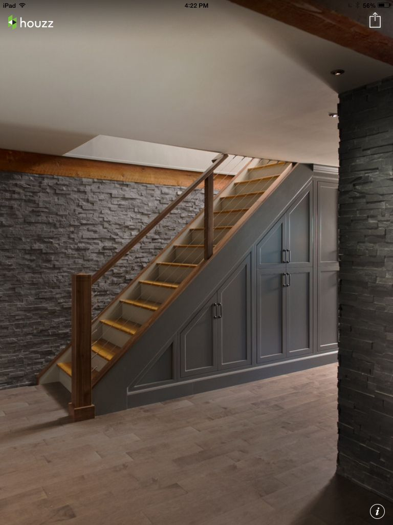Basement Stairs Design: Like The Stone, Style And Color Of The Stairs, Paneling