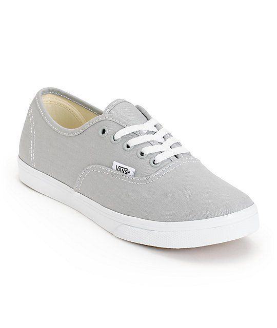 Vans Girls Authentic Lo Pro High Rise Grey  True White Shoes  Zumiez