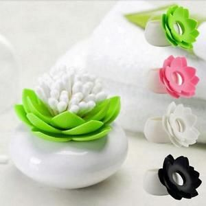 Lotus Flower Cotton Bud Holder Toothpick Case Organizer Swab Box Cup Home Decor | eBay