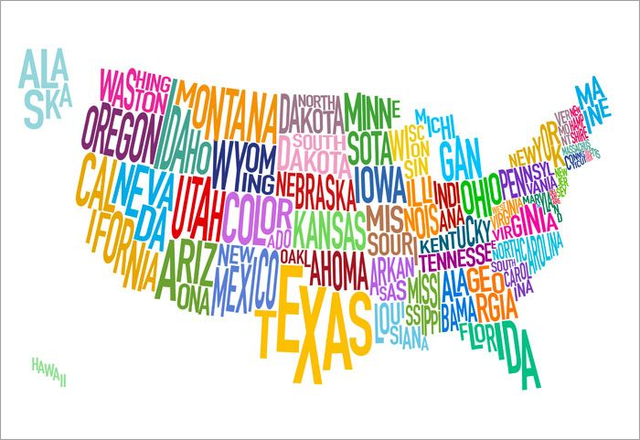 United States Of America Text Map USA Art Print Poster S - Poster map of usa