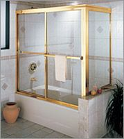 Century Lucette Clear Brass Corner Tub Slider Available W
