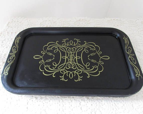 Black and Gold Metal TV Trays Set of Five Snack Trays TV & Black and Gold Metal TV Trays Set of Five Snack Trays TV | New ...