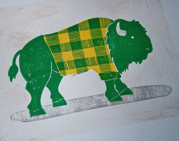 wall art ndsu bison go bison green and yellow linocut print 8 5 x