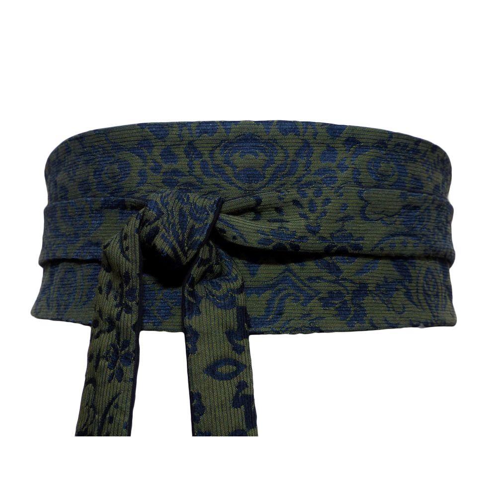 d60b861d79a1 Brocart soie haute couture, ceinture obi à nouer, vert olive et bleu marine