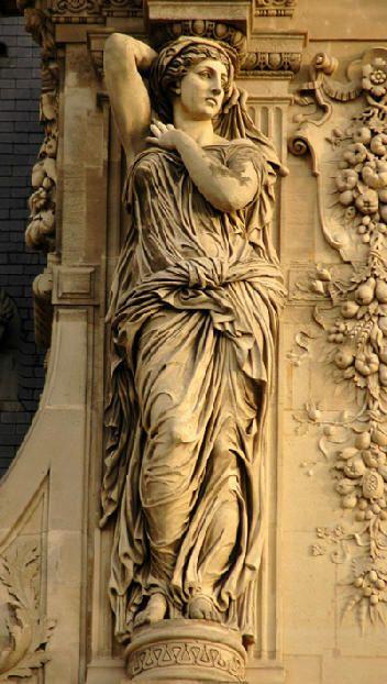 "Caryatid, Louvre,  ""maidens of Karyai"", an ancient town of Peloponnese. Karyai had a famous temple dedicated to the goddess Artemis in her aspect of Artemis Karyatis"