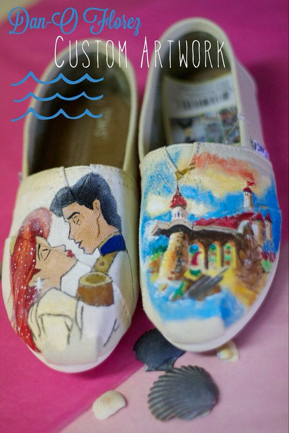 6f875195aa1 Little Mermaid Ariel Eric Inspired Custom painted Disney themed TOMS or  Vans Artwork and Shoes included