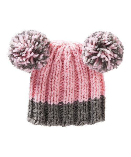 Look at this Blossoms & Buds Pink & Gray Double Pom-Pom Beanie on #zulily today!