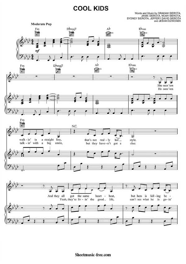 Cool Kids Sheet Music Echosmith Piano Piano sheet music pdf