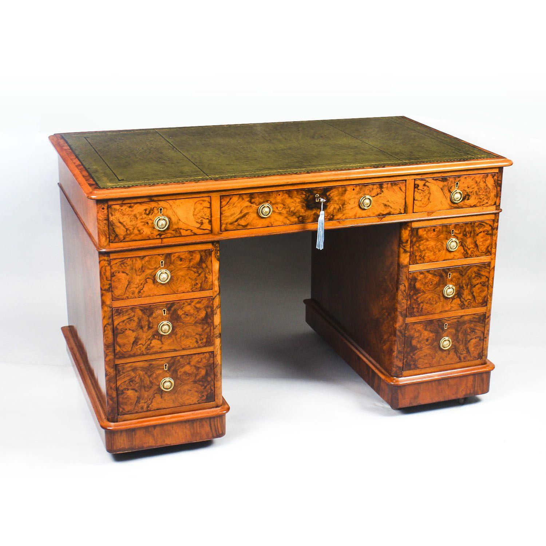 Antique Victorian Burr Walnut Pedestal Desk 19th C Pedestal Desk