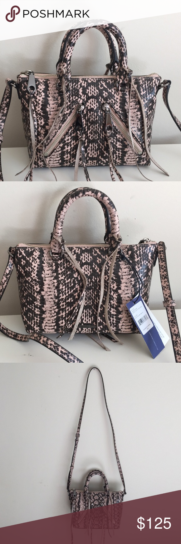 """NWT Auth Rebecca Minkoff Micro Moto Blush Python NWT authentic Rebecca Minkoff Micro Moto Satchel in Pale Blush Multi / gunmetal hardware / adjustable crossbody strap / top zip closure / two exterior zip pockets / three interior slip pockets / one interior zip pocket / 8"""" long x 6"""" high x 4"""" deep / 3.5"""" handle drop / 22"""" strap drop / extra tassel, care card and original dust bag included / reasonable offers welcome Rebecca Minkoff Bags Crossbody Bags"""