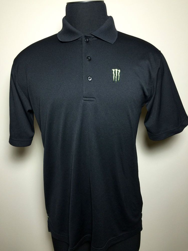 40b46265 MONSTER ENERGY DRINK BLACK SHORT SLEEVE PERFORMANCE POLO MENS L FREE SHIP!  #MonsterEnergy #PoloRugby