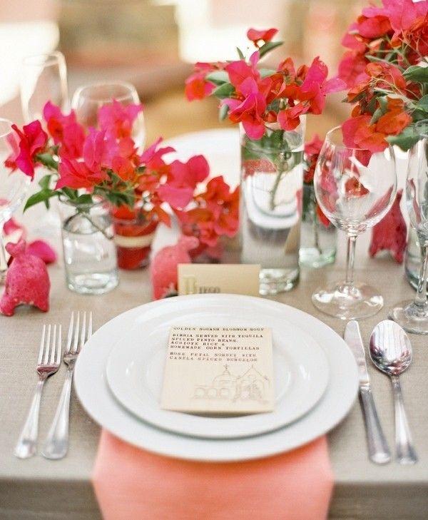 Frische Blumen Tisch rosa Serviette Deko Hochzeitsdeko - wohnzimmer deko pink