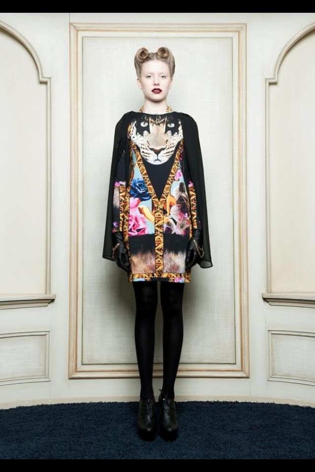 Leopard cape dress