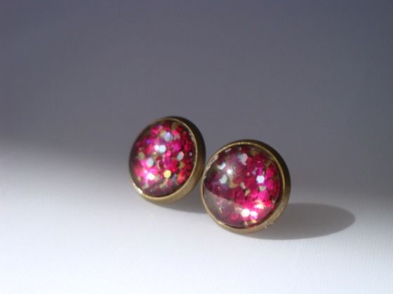 NO FEES- Hot pink Antique Brass Post Earrings $12.00