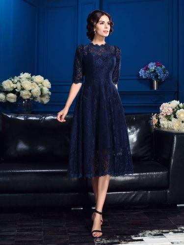 A-Linie Stehkragen Half Sleeve Spitzen Kleid - $109.99