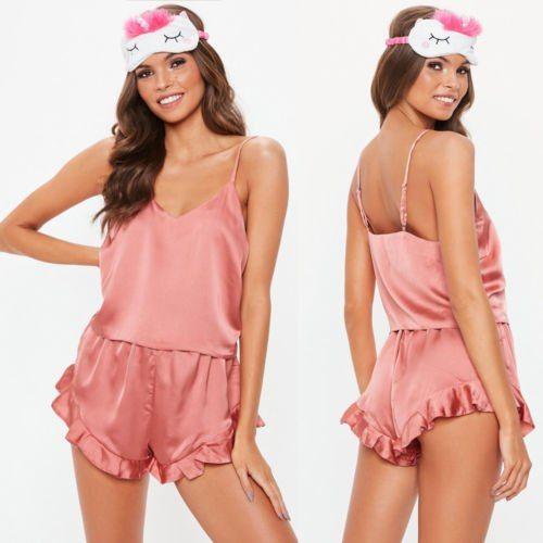 e6aaa20a6cd Ladies Solid Underwear Nightwear Sleepwear Women Summer Sleeveless V-Neck  Sexy Lingerie Babydoll