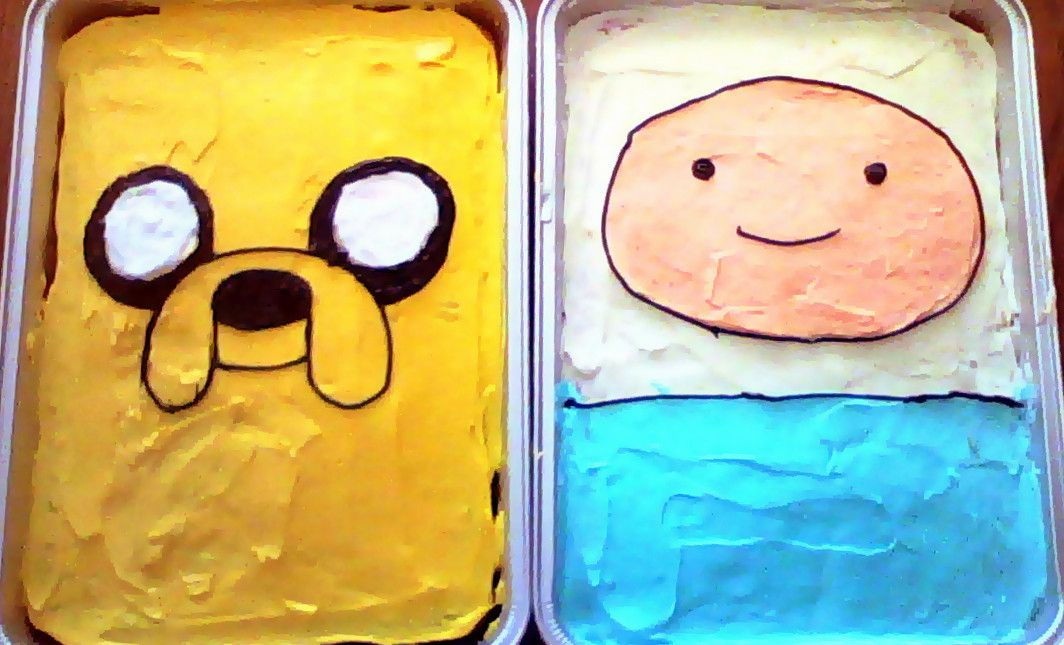 My friend's son turned 7 recently, and he wanted Adventure Time themed cakes. How'd I do? - Imgur