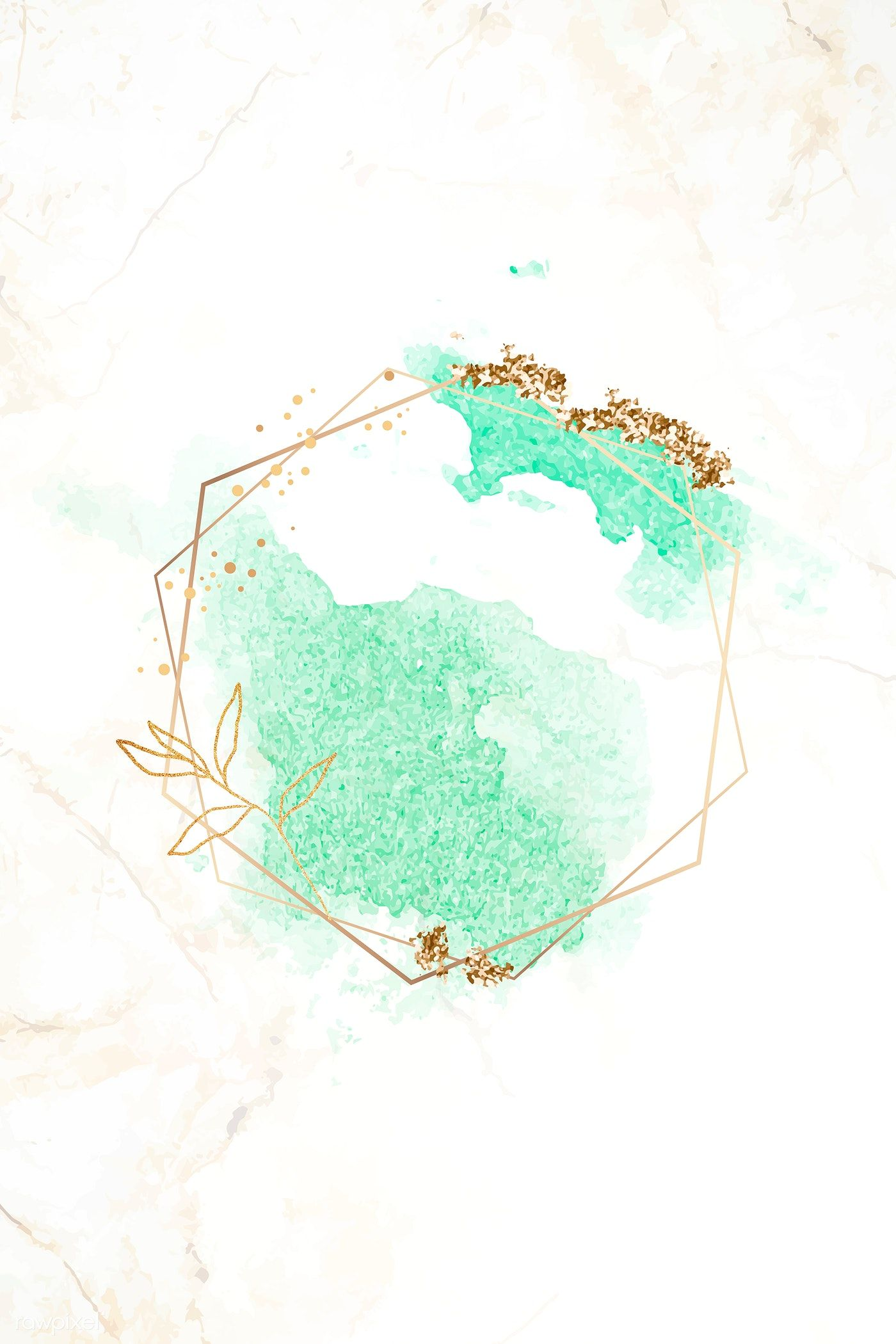 Download Premium Vector Of Gold Hexagon Frame On Green Watercolor