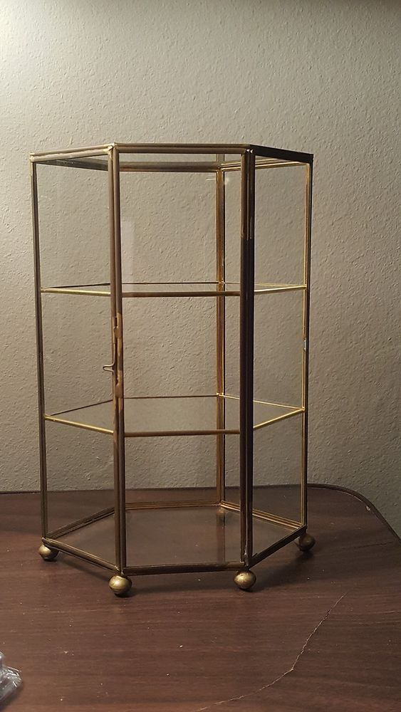 Vintage 3 Tier Brass Glass Table Top Curio Cabinet Display Shelf Case Ball Feet Glass Top Table Display Shelves Display Cabinet