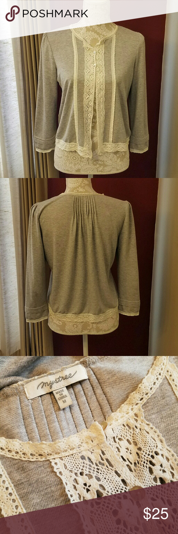 Mystree Lacey Cardigan Delicate lace details make this a wonderful piece over dresses or tops. Exquisite lace sleeve hems and pleated back and sleeve detail. 3 tiny abalone shell buttons close the top. Thin enough for every season. 3/4 sleeves to show off your favorite bracelets. Great condition. Anthropologie Tops