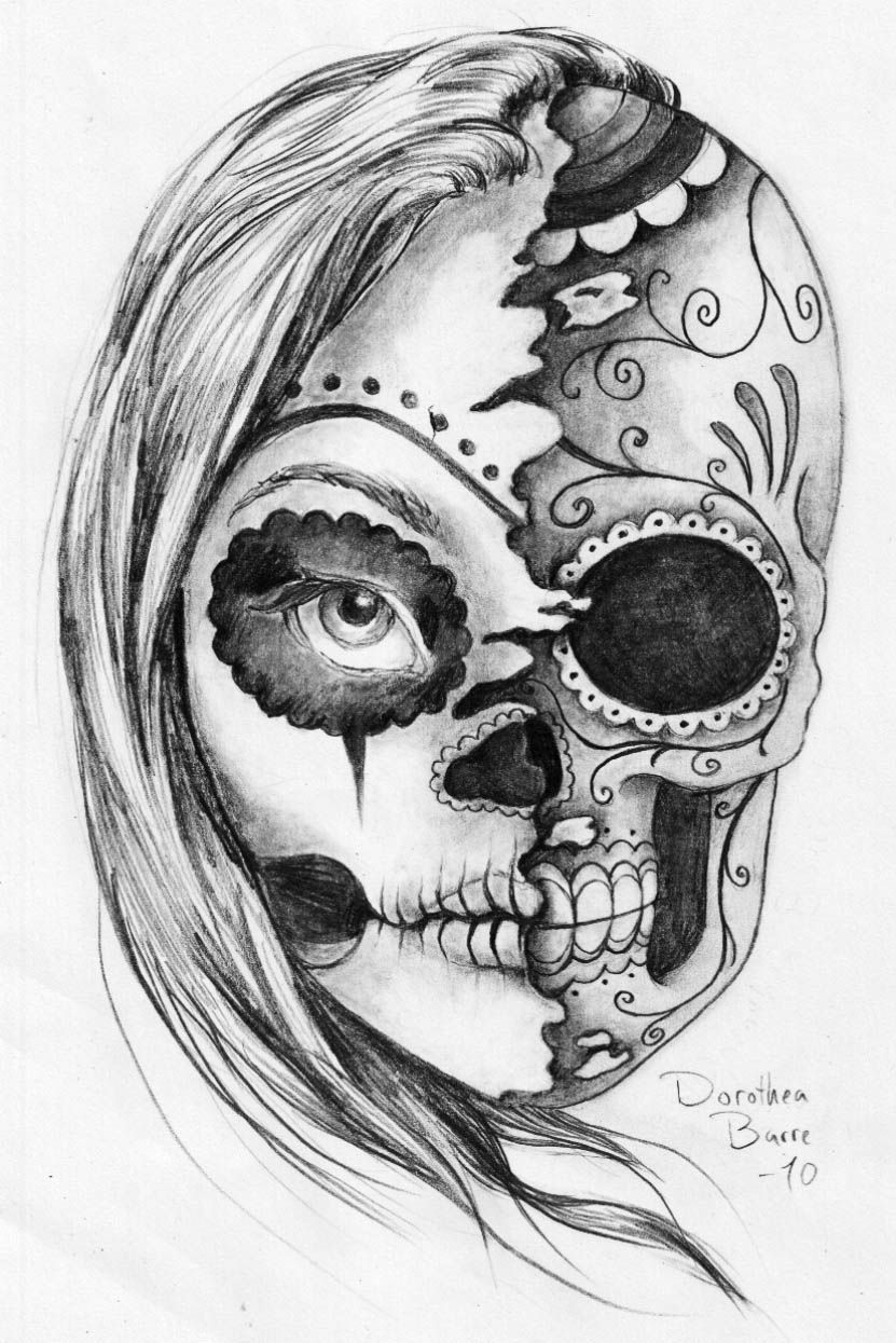225cc80b105a0 A tattoo idea. But inside of her face, half of my grandfather that passed  away. Day of the Dead tattoos