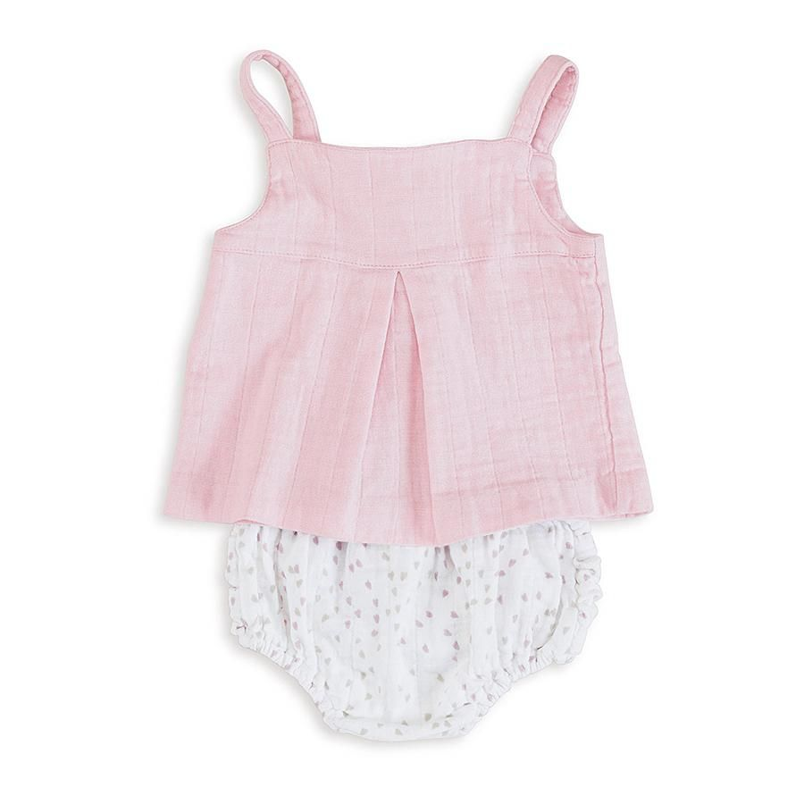 Baby Smock Top Muslin Pink Outfit Baby Girl Clothes Pinterest