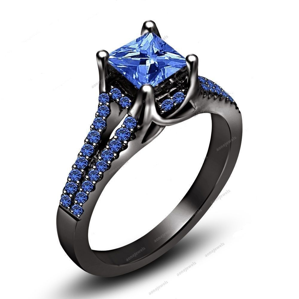1.32 CT 14K Black Gold FN 925 Silver Blue Sapphire Solitaire With Accents Ring #aonejewels