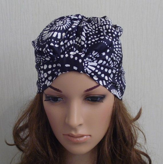 Black and White Womens Satin Turban be27dbc9be8