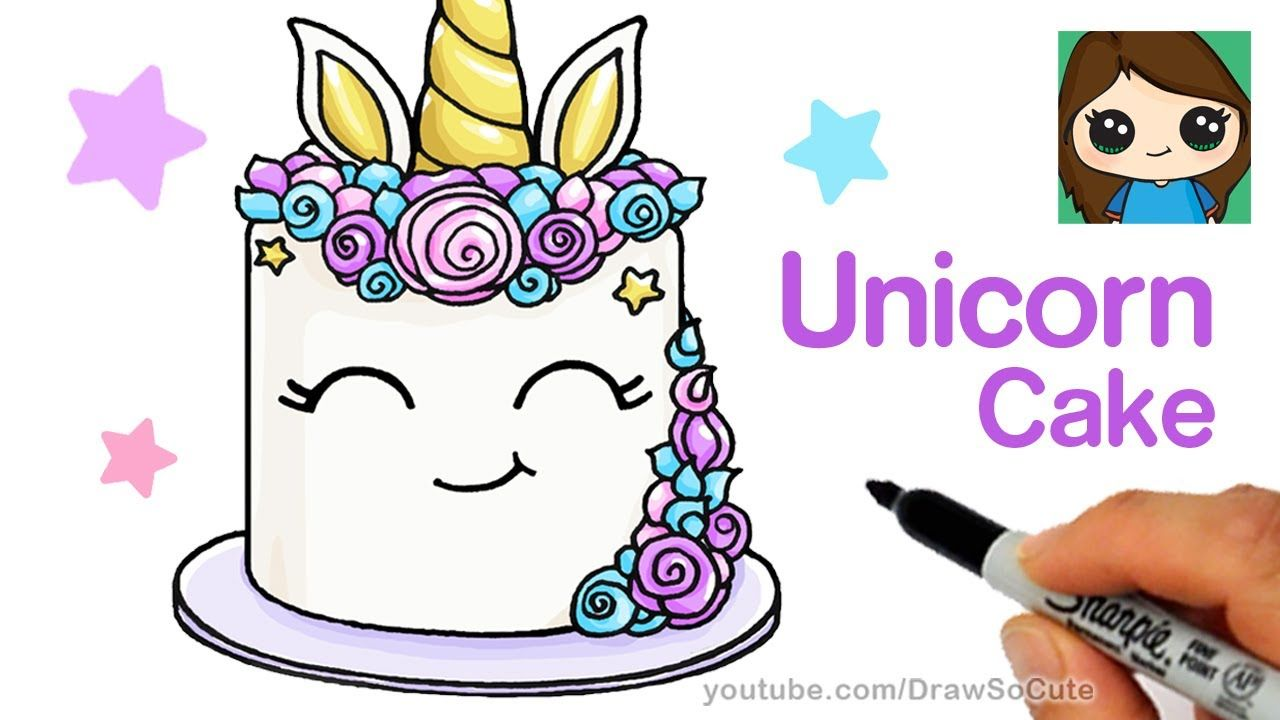 How To Draw A Unicorn Cake Easy Art Completed In 2019 Pinterest