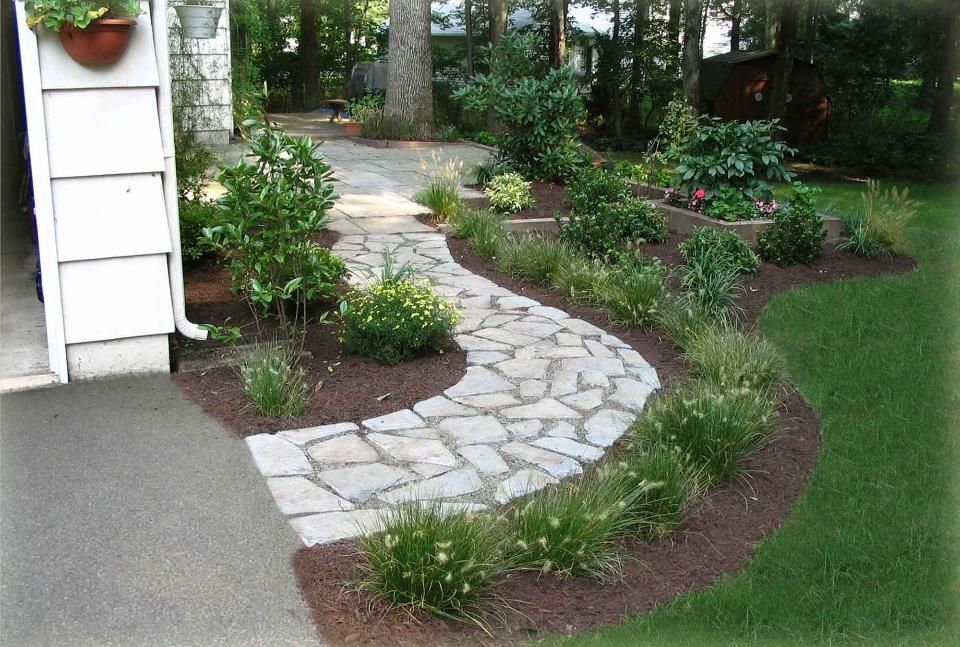 walkway surrounded mulch