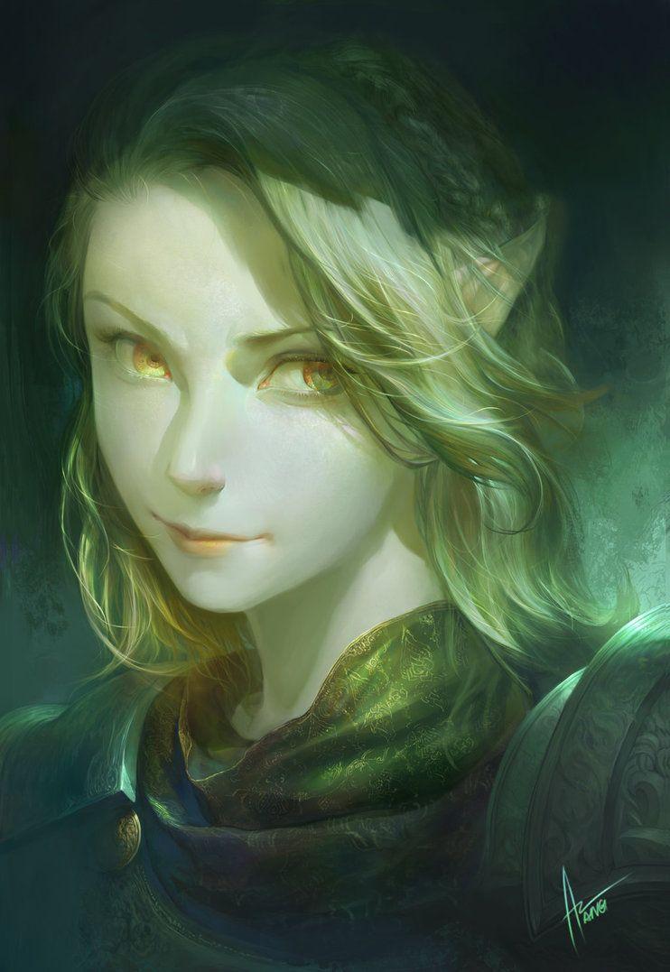 Female Elf Light Skin Blonde Hair Hazel Eyes No Pet No Mount No Weapon Medium Armor Heavy Armor Fighter Paladin Fantasy Girl Character Portraits Character Art