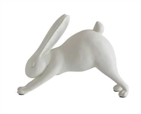 "7""L White Resin DOWNWARD DOG yoga bunny"