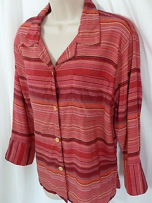 COLDWATER CREEK Red Pink Stripe Blouse M Button Down Top 3/4 Sleeve Linen Blend