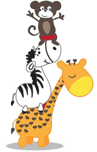 Monkey Zebra And Giraffe Clip Art Zoo Jungle