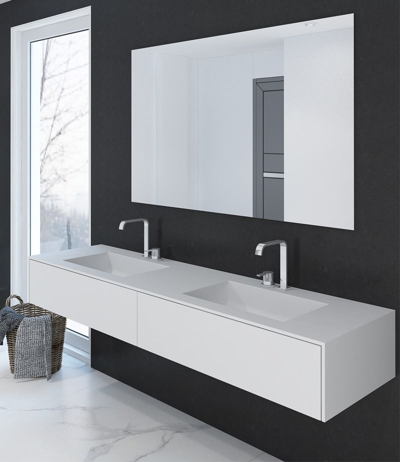 corian doppelwaschtisch pure plus 180cm mit zwei rechteckigen becken mit unterschrank aus. Black Bedroom Furniture Sets. Home Design Ideas