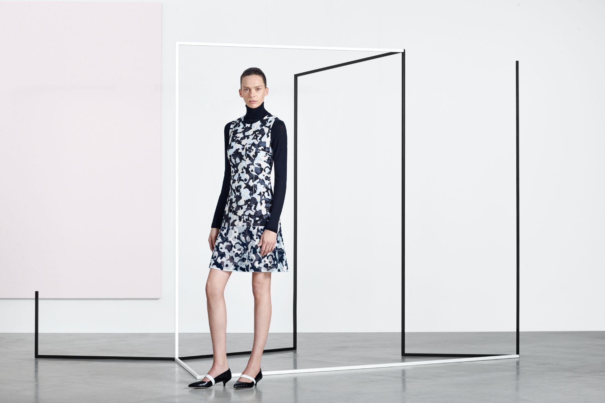 Bold new patterns amp up a feminine ensemble in the BOSS Womenswear pre-Fall 2016 lookbook