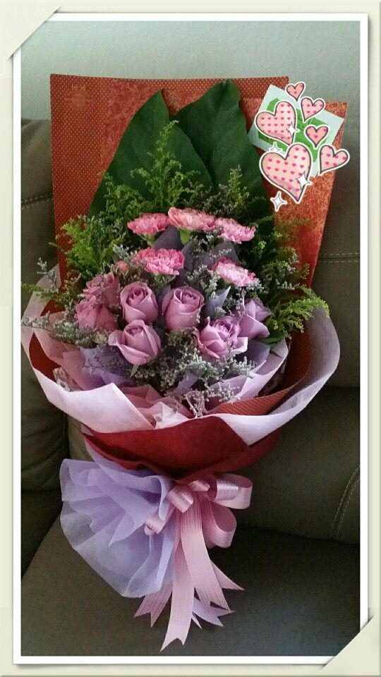 Hand Bouquet - Fresh Pink Carnations And Purple Roses | AGF Floral ...