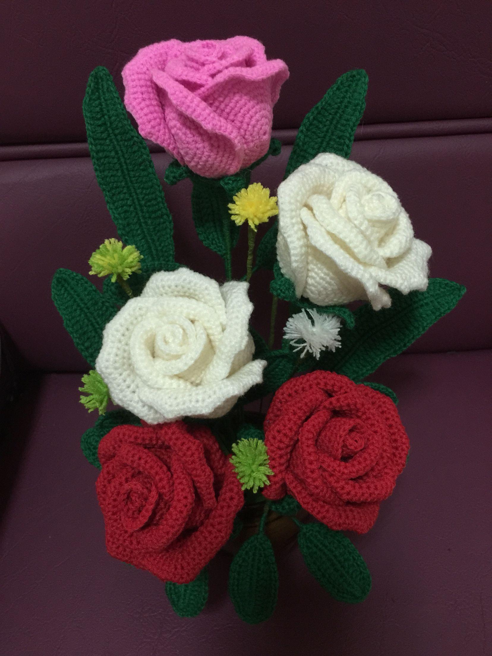Открытка вязаные цветы, поздравление курбан-байрам поздравления