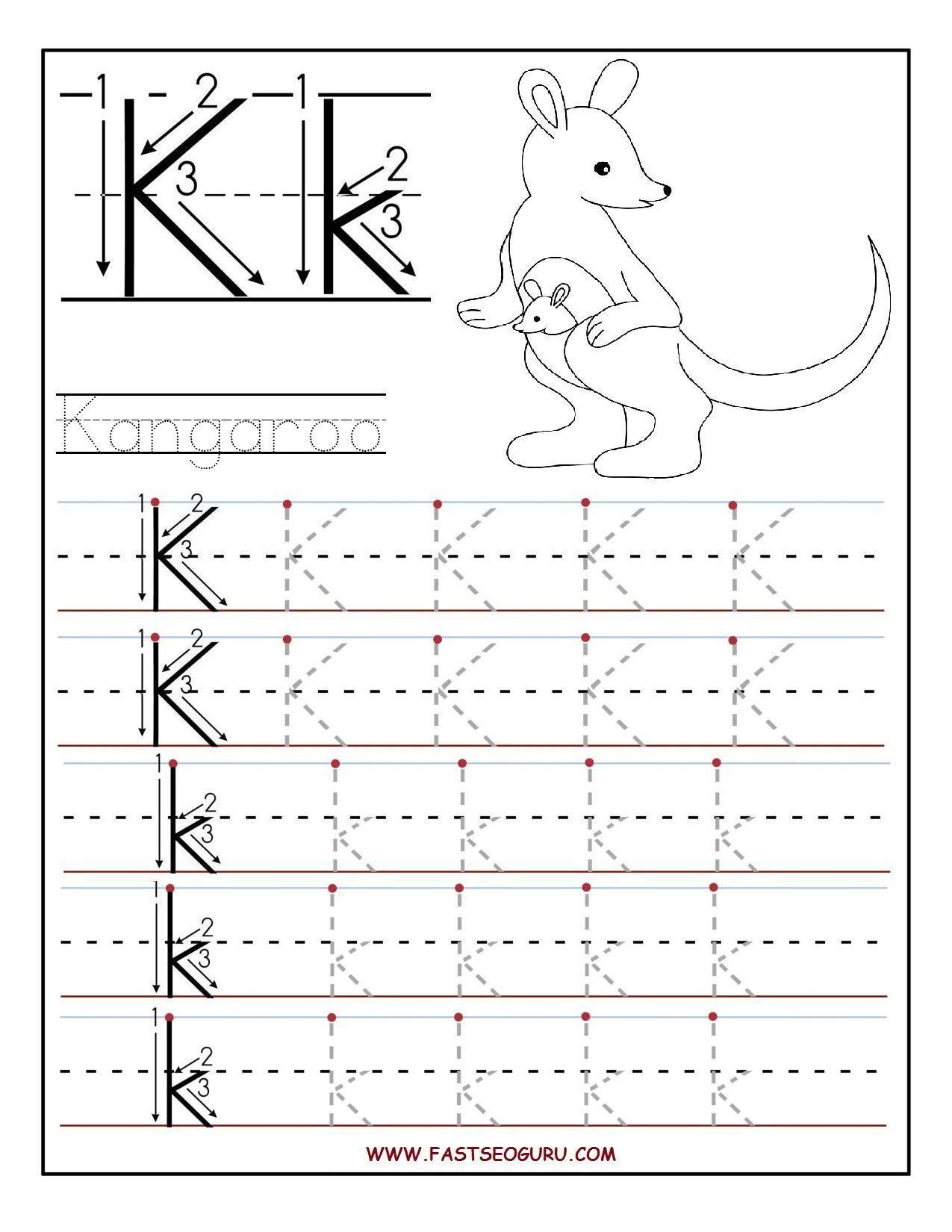 Letter K Writing Worksheets In