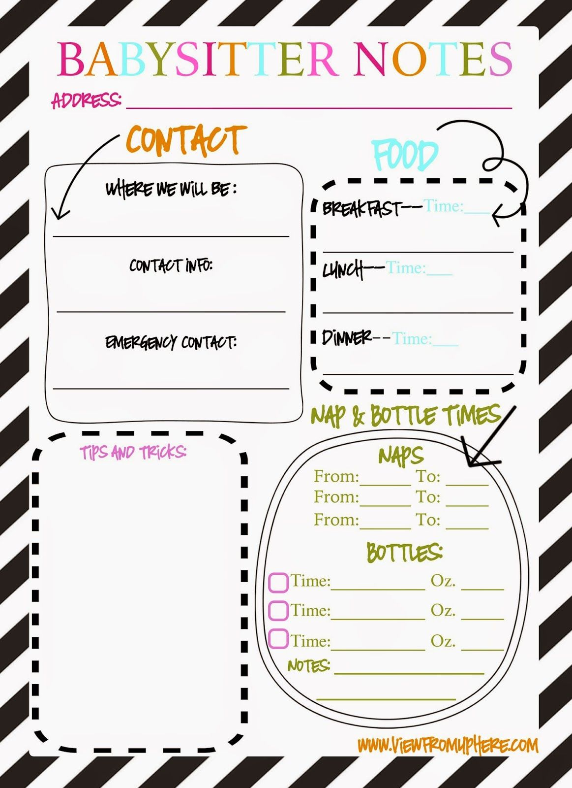 Babysitter Notes Printable
