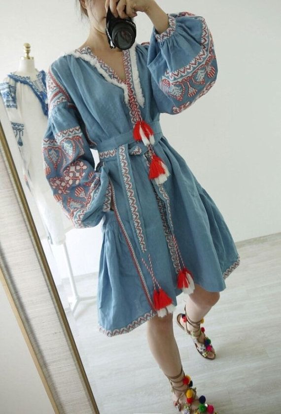 Measurements Appox. Length: 38.2 (97 cm)  Bust: 40.9 (104 cm)  -Side pockets  -Embroidered  -Color: Sky blue  -Linen  -Import  -Dry clean   ***Please allow 2-3 weeks for production and shipping.