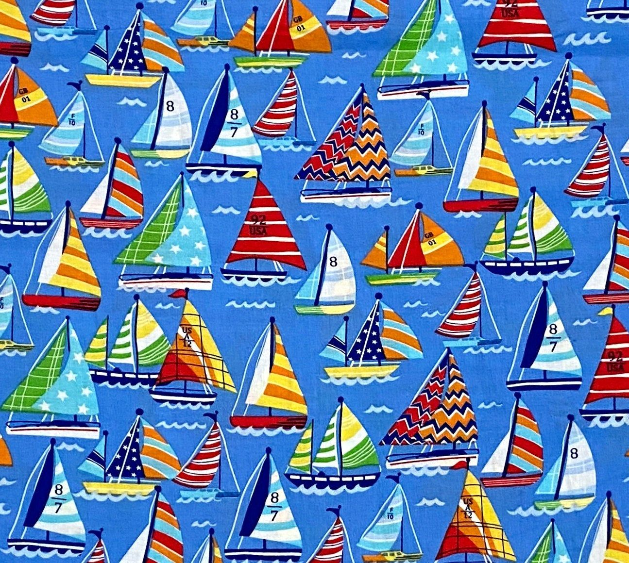 Sailboats Fabric Novelty Cotton Fabric Boats Fabric  100% Cotton Fabric Face Mask Fabric FQ