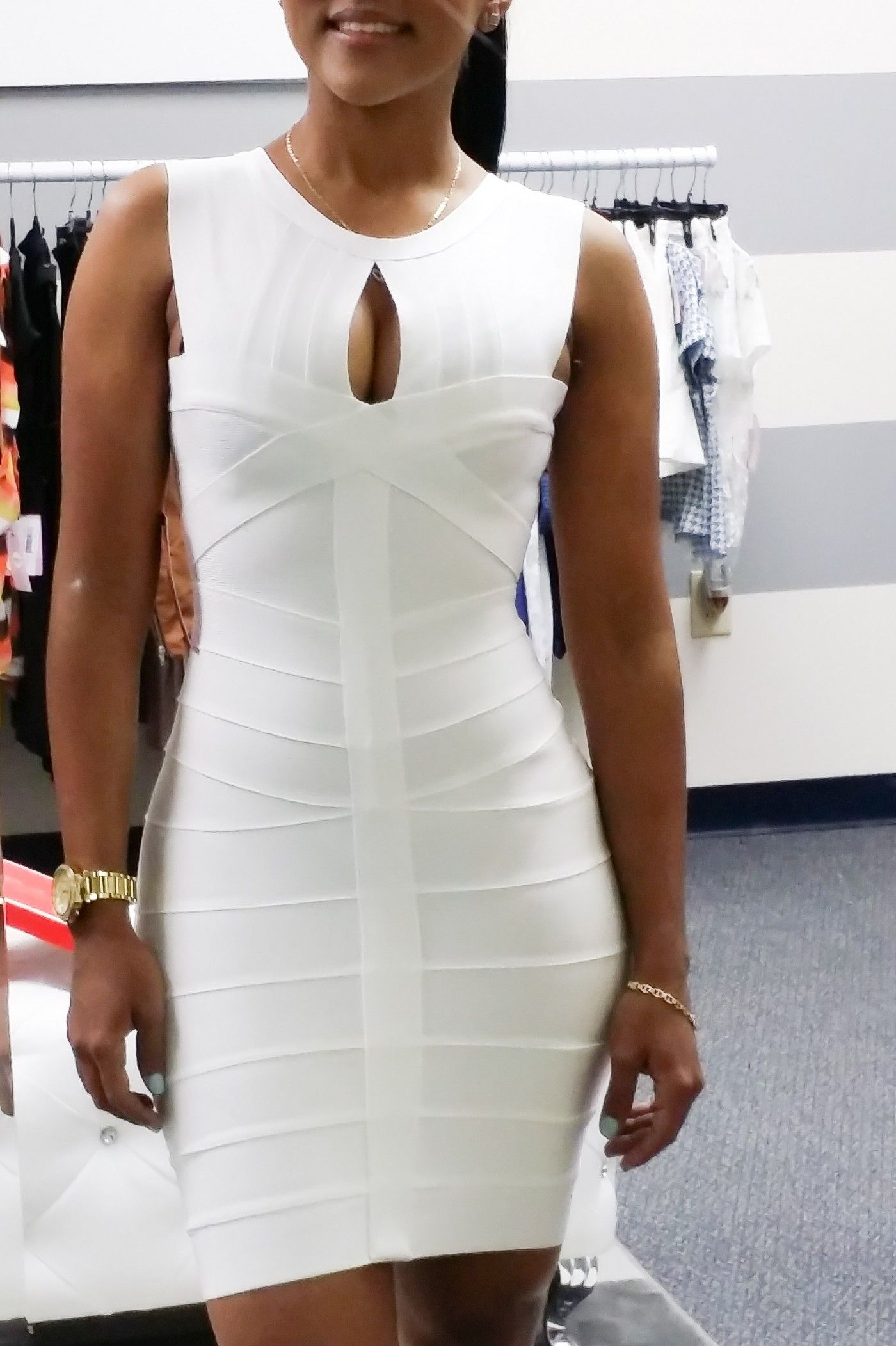 Venice White Luxe Bandage Dress