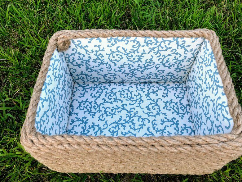 Cotton Rope Basket Nautical Storage Basket Fabric White And Blue