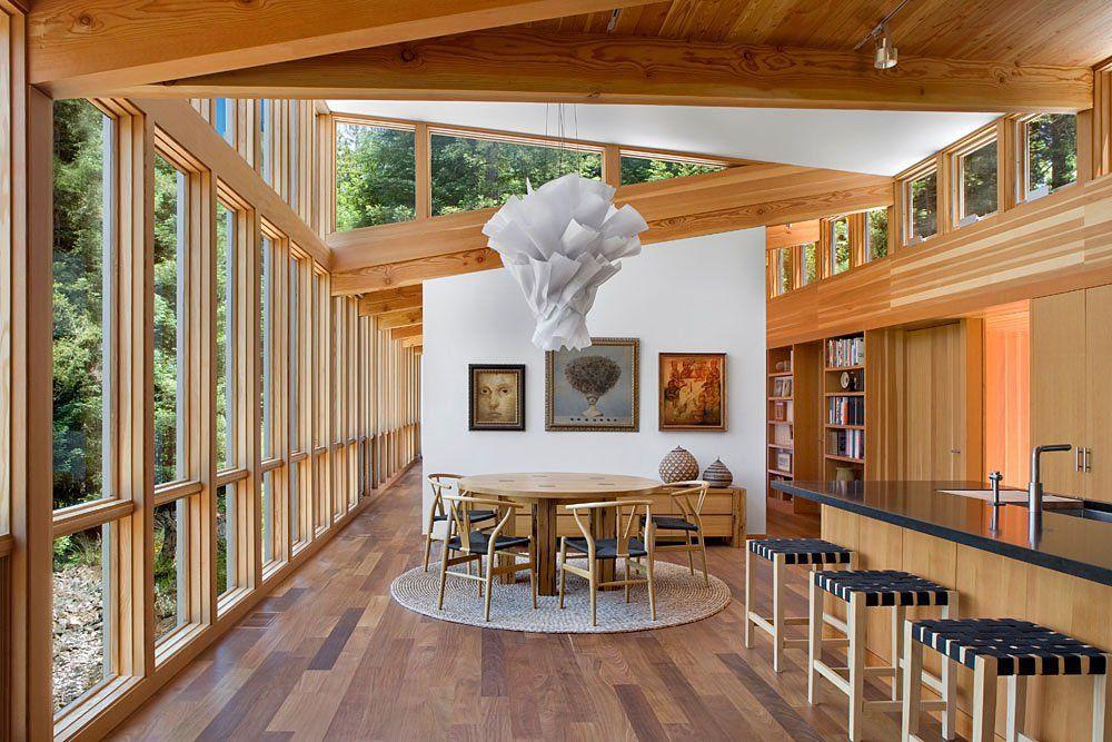 Dise o de cocina comedor moderna de casa de campo planos for Casa moderna parquet
