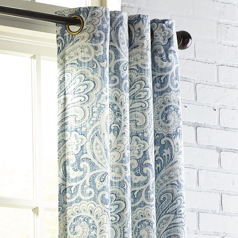 Seasons Paisley Indigo Paisley Curtains Shabby Chic Bathroom Grommet Curtains