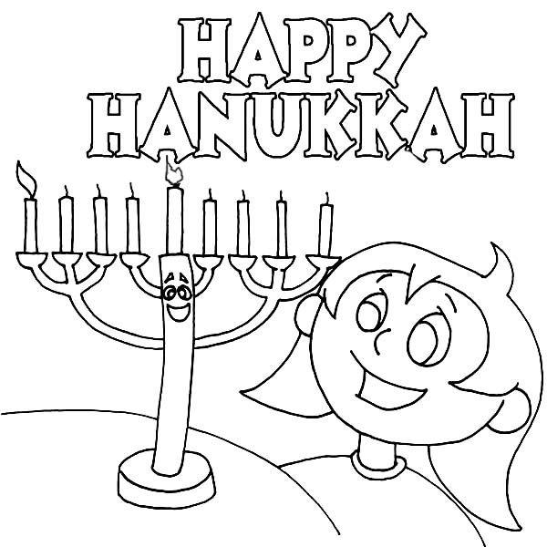 Chanukah, : A Girl Celebrating Chanukah Day Coloring Page