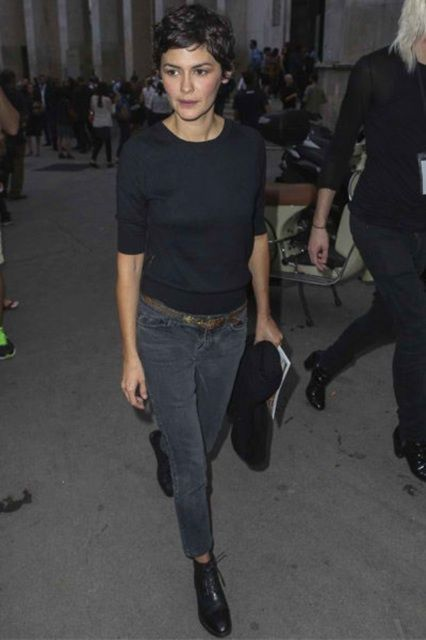 The Parisian Muse: Get some tips from Clemence Poesy - ADORENESS -  Black t-shirt, washed black skinny jeans & black ankle boots | Audrey Tautou | Style&Minimalism | F - #adoreness #CelebrityStyle #clemence #MenGrooming #Muse #parisian #poesy #RunwayFashion #StylingTips #Tips