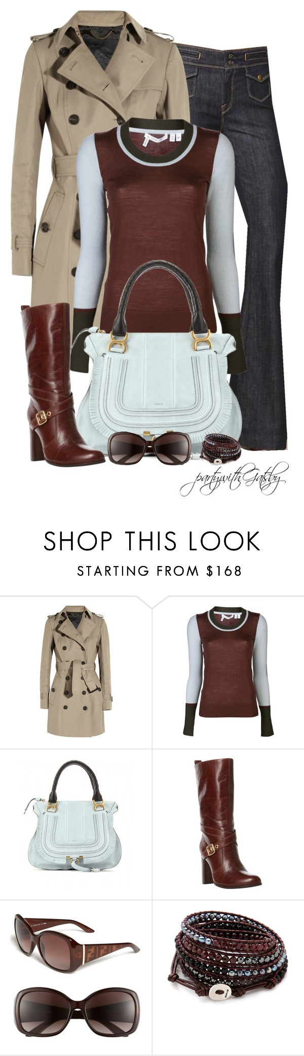 """""""Crosby by Derek Lam"""" by partywithgatsby ❤ liked on Polyvore featuring 7 For All Mankind, Burberry, 10 Crosby Derek Lam, Chloé, Dune, Fendi and Chan Luu"""