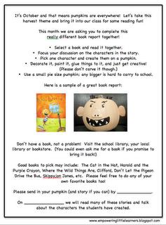 pumpkin book report template  Pumpkin Character Book Reports Freebie! | Pumpkin books ...